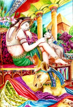Isis and Her Felinae Goddesses by lilitus