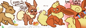 Eevee/Flareon transformation by SpunkyRacoon