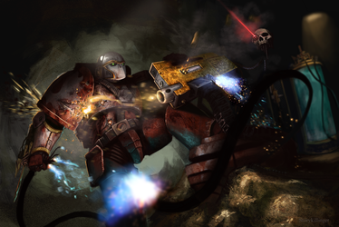 Flesh Tearer Tears Out a Bolter by StoryKillinger