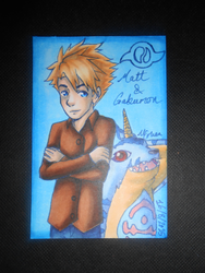 Matt and Gabumon ATC by Libra-the-Hedghog