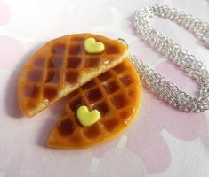 polymer clay waffle best friend necklaces by ScrumptiousDoodle