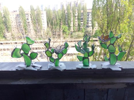Sea stained glass artificial cactus collection by KateMurphy