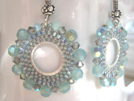 Aqua and silver Beaded Hoops by albitas