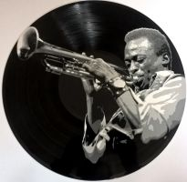 Miles Davis painted on vinyl record by vantidus