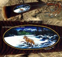 Painted Feather Fox Snow Scene by Dreamspirit