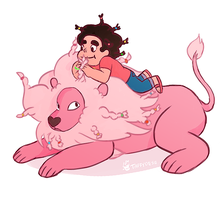Lion and steven by TaffyDesu