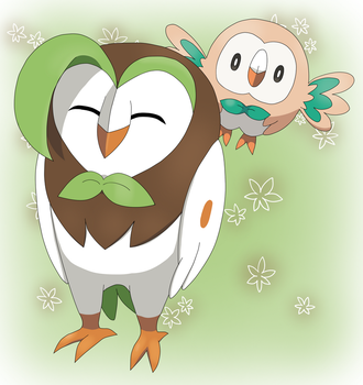 Dartrix And Rowlet by CyaniDairySentinel