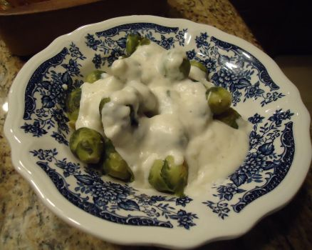 Blue Bowl Brussels Sprouts by FlyingPhoenixAnne