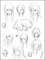 Manga Hairstyles sheet 1 by MissPinks