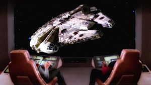 Enterprise D meets the Millennium Falcon by Dave-Daring