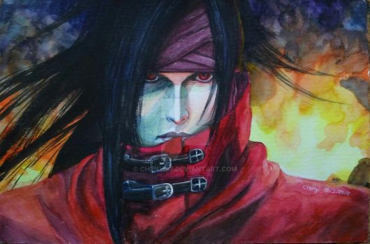 FINAL FANTASY 7 - VINCENT VALENTINE watercolor by Chenyi87