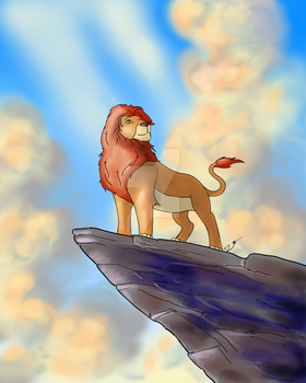 Simba on pride rock by Redwingsparrow