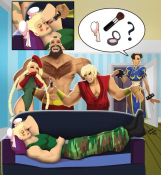 Funny Makeup on Guile's face by andre4boys