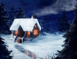 winter cabin by Avender