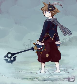 Sora in Pirate's of the Caribbean outfit by Leharc--BlueHeart