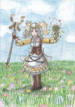 Comission-Lissa on a flower field by Sapphire-Blossom-Mai