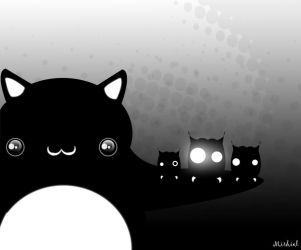 The fat black cat and the owls by mirhiel