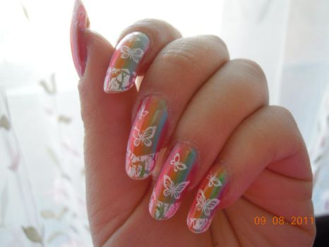 rainbow butterfly fr manicure by alissaho
