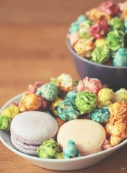 Colorful Popcorns and Macaroons by whocaresme