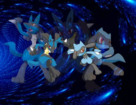 Lucario and Riolu Wallpaper by Adoramereku