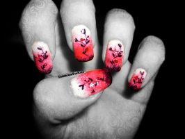 Red, white and black gradient with flowers nails by RainbowsForKate