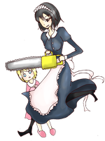 Chainsaw maid and Little Girl by MakotoZhen