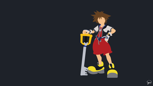 Sora (Kingdom Hearts) Minimalist Wallpaper by greenmapple17