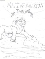 Native American Indian lion by TLK-Peachii