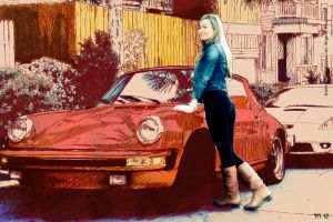 Cutout Girl With Classic Porsche in Golden Hill by monkeycrisisonmars