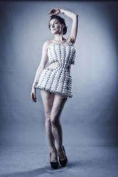 Futuristic balloon dress 1 by mrballoonatic