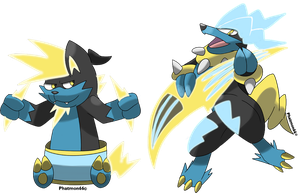 Fakemon Thundrum and Rockineer by Phatmon