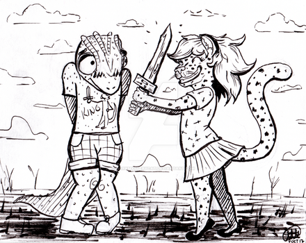 Inktober Day 6+7: Sword+Leopard Girl / Shy+Lizard by DarkMysteryCat