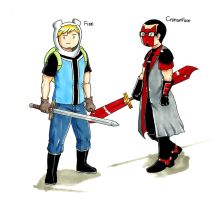 Finn and Crimsonface by gmil123