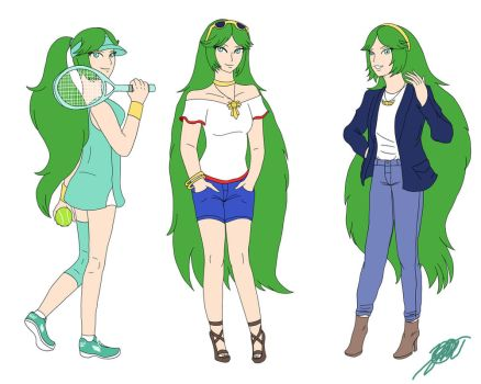 Palutena Modern Outfit Sketches by StarWolf597