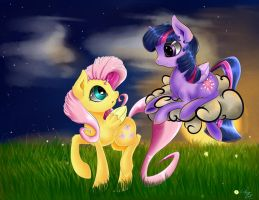 Fluttershy and Twilight by CarligerCarl