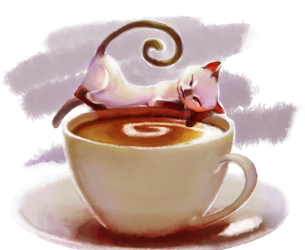Coffee Cat by CharcoalCharcaz