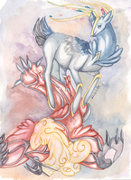 Xerneas and Yveltal by Luscielle