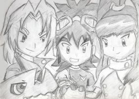 Digimon Xros Wars Anniv Sketch by yamiakuzetsu17