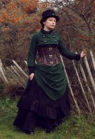 Green steampunk - Bustle skirt and bolero by sombrefeline