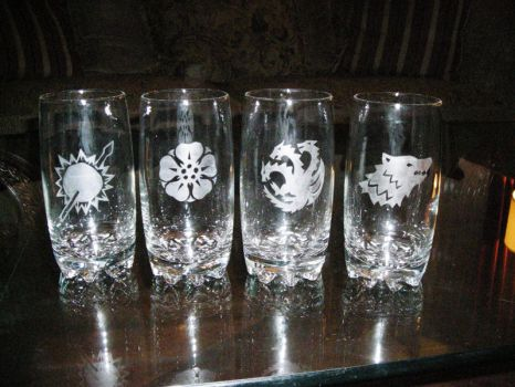 ASOIAF House Glasses by doux-merise