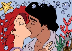 Ariel and Eric Kiss Series Lineart Colored by im-a-princess109