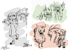Halloween sketches by LutesWarmachine