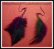 Earrings Feather colors by lamu1976