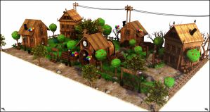 Cartoon Wood Village by MarcMons007