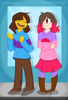 Betty And Frisk (collab with VioletOrange) by Anonymous-anonX3