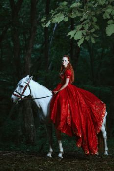 Princess in red dress with horse in forest by Black-Bl00d