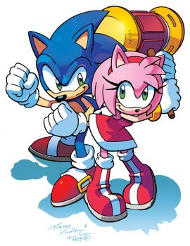 Sonic and Amy by Tracy Yardley! (Colors edition) by Gamer101-123