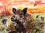 Wild boar and wolves by emalterre