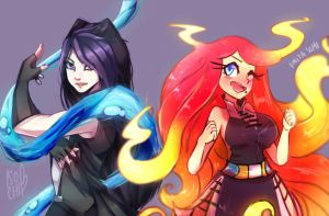 COLLAB: WATER AND FIRE GURLS by Omiza-Zu