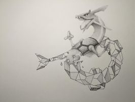 Altitude - Rayquaza Stippling Art by Redtailed22